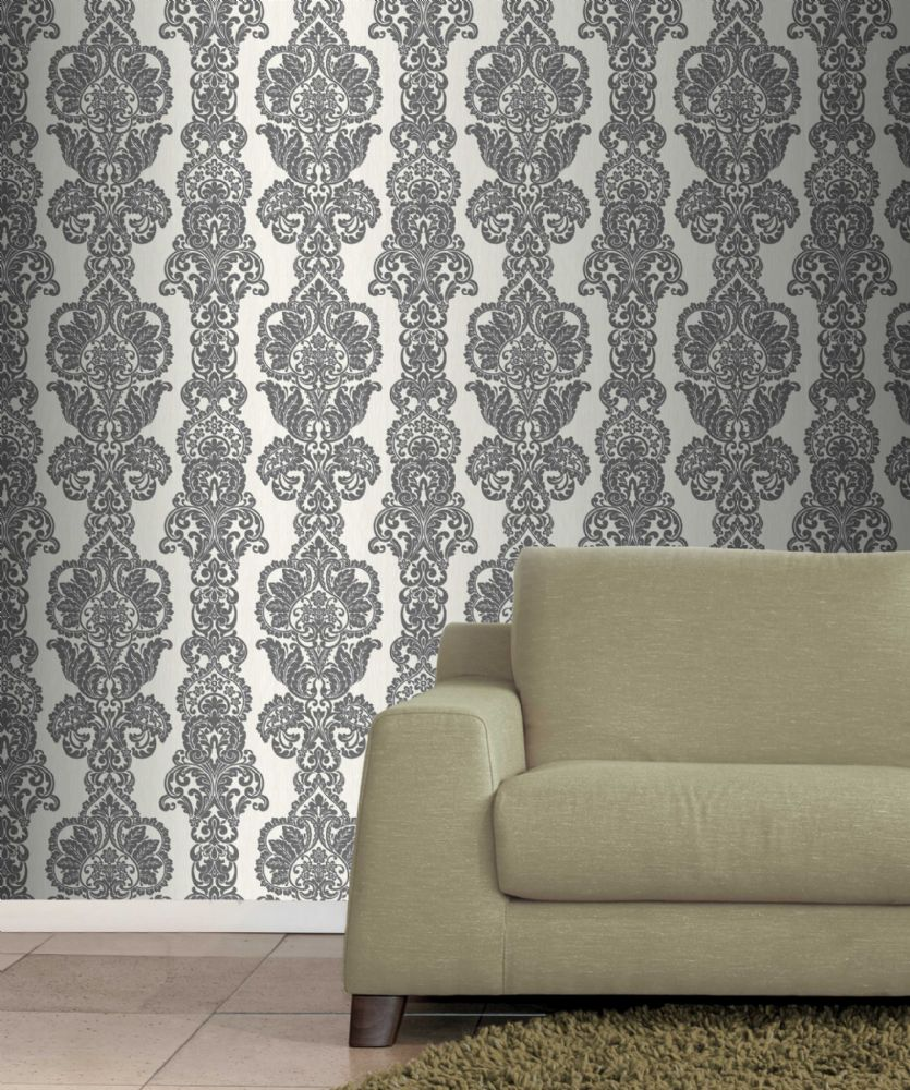 Fine Decor Rochester Damask Black/White FD40896 Wallpaper